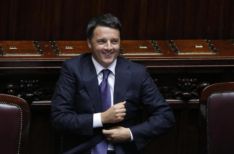 Italian Prime Minister Matteo Renzi smiles after he delivered his speech at the Italian Parliament in Rome June 24, 2014.  REUTERS/Remo Casilli