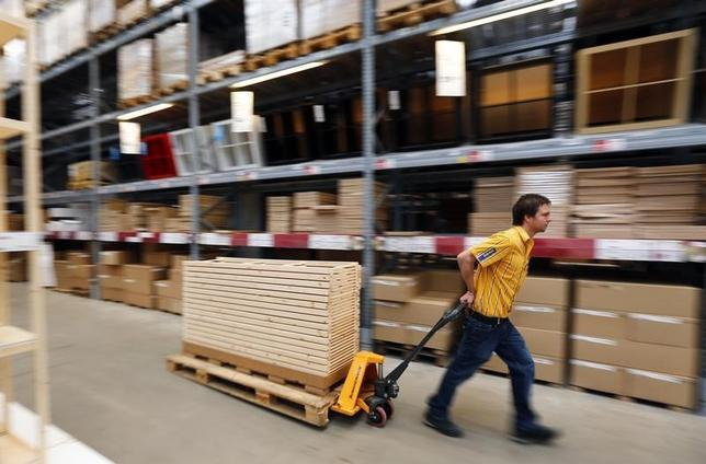 An employee of Swedish retailer IKEA is pictured in Taufkirchen near Munich January 22, 2013.  REUTERS/Michael Dalder