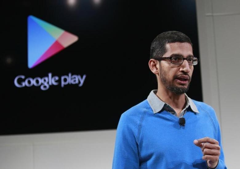 Sundar Pichai, senior vice president at Google, speaks during a Google event at Dogpatch Studio in San Francisco, California, July 24, 2013. REUTERS/Beck Diefenbach