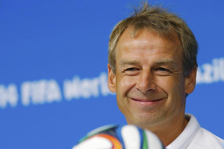 REFILE - CORRECTING SPELLING OF FIRST NAMEUnited States national soccer team head coach Juergen Klinsmann smiles while answering a question during a news conference at the Pernambuco arena in Recife June 25, 2014.    REUTERS/Brian Snyder