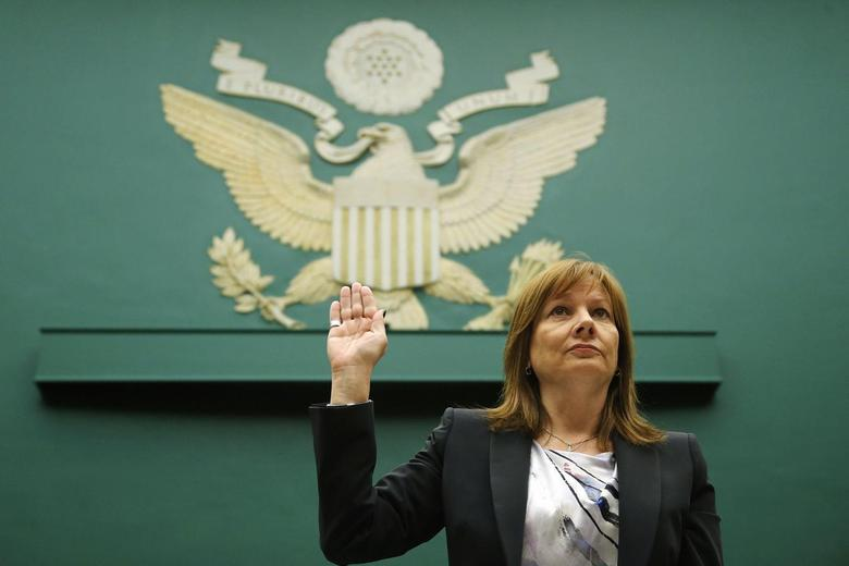 General Motors CEO Mary Barra is sworn in to testify before a House Energy and Commerce Oversight and Investigations Subcommittee hearing on the GM ignition switch recall on Capitol Hill in Washington June 18, 2014. REUTERS/Jonathan Ernst