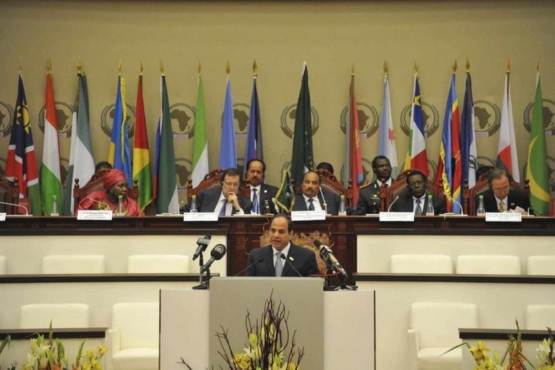 Egypt President Abdel Fattah al-Sisi talks during the 23rd African Union Summit (AUS) in Malabo in this June 26, 2014 handout. REUTERS/The Egyptian Presidency/Handout via Reuters