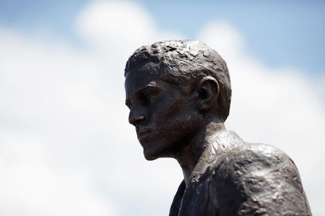 A statue of Gavrilo Princip is seen after an opening ceremony in East Sarajevo, June 27, 2014. REUTERS/Dado Ruvic