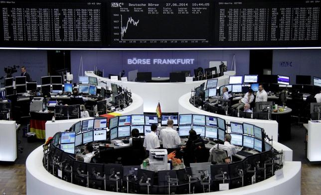 The curve of the German share price index DAX board, is pictured at the Frankfurt stock exchange June 27, 2014.    REUTERS/Remote/Stringer