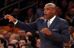 Milwaukee Bucks head coach Larry Drew during the first quarter against the New York Knicks at Madison Square Garden. Mandatory Credit: Anthony Gruppuso-USA TODAY Sports