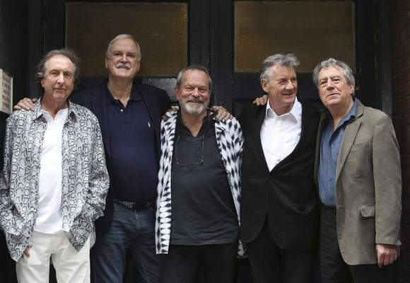 Members of British comedy troupe Monty Python (L-R) Eric Idle, John Cleese, Terry Gilliam, Michael Palin and Terry Jones pose for a photograph during a media event in central London, June 30, 2014. REUTERS/Paul Hackett