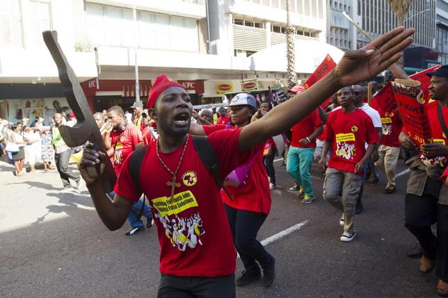 Members of the National Union of Metal Workers of South Africa (NUMSA) protest on the streets of Durban July 1, 2014. REUTERS/Rogan Ward