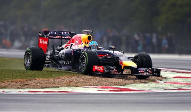 Red Bull Formula One driver Sebastian Vettel of Germany drives over the grass during final practice ahead of the British Grand Prix at the Silverstone Race Circuit, central England, July 5, 2014. REUTERS/Phil Noble