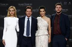 "(L-R) Cast members Nicola Peltz, Mark Wahlberg, Li Bingbing and Jack Reynor pose for pictures before the European premiere of the movie ""Transformers: Age of Extinction"" in Berlin June 29, 2014. REUTERS/Thomas Peter"