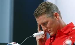 Jogador da Alemanha Bastian Schweinsteiger durante coletiva de imprensa em Santo André (BA). 6/7/2014 REUTERS/Arnd Wiegmann