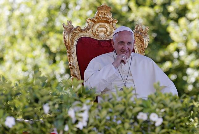 Pope Francis looks on as he leads a speech outside the Castelpetroso sanctuary, near Isernia, south of Italy, July 5, 2014. REUTERS/Giampiero Sposito