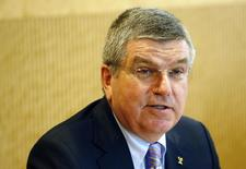 International Olympic Committee (IOC) President Thomas Bach addresses participants at the start of the Executive Board meeting at the IOC headquarters in Lausanne July 7, 2014. REUTERS/Denis Balibouse