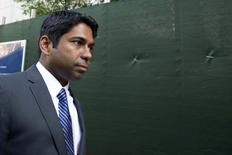 Rengan Rajaratnam exits the U.S. District Court for the Southern District of New York in Lower Manhattan June 17, 2014.  REUTERS/Brendan McDermid