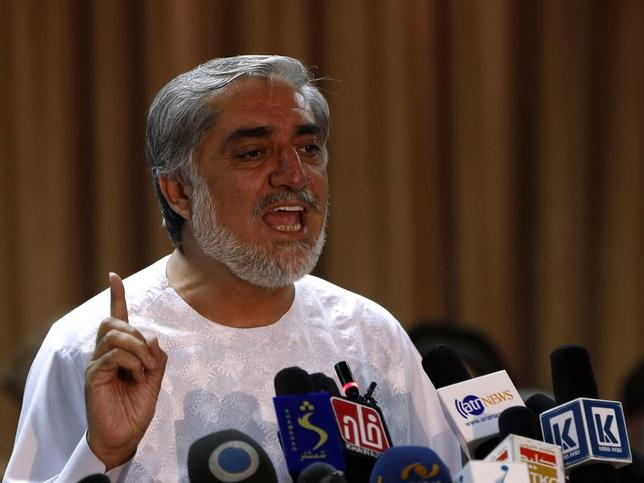 Afghan presidential candidate Abdullah Abdullah speaks during a news conference in Kabul, July 6, 2014. REUTERS/Omar Sobhani/Files