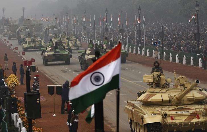 Indian Army's Arjun MK-I tanks (MBTs) are driven for display during the Republic Day parade in New Delhi January 26, 2014. REUTERS/Adnan Abidi/Files