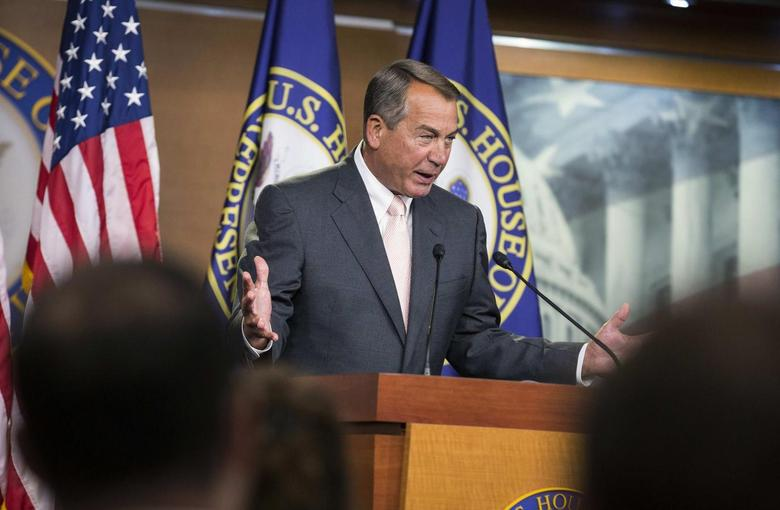 Speaker of the House John Boehner (R-OH) emphasizes a point as he speaks to the media on Capitol Hill in Washington July 10, 2014.     REUTERS/Joshua Roberts
