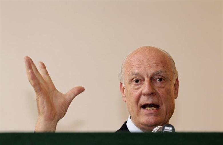 Staffan de Mistura speaks during a news conference at the Italian embassy in New Delhi March 22, 2013 file photo. REUTERS/Vijay Mathur