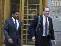 Rengan Rajaratnam (L) exits the U.S. District Court for the Southern District of New York with his lawyer Daniel Gitner in Lower Manhattan July 8, 2014.  REUTERS/Brendan McDermid