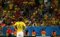 David Luiz, da seleção brasileira, lamenta derrota para a Holanda em Brasília. 12/07/2014.  REUTERS/Jorge Silva