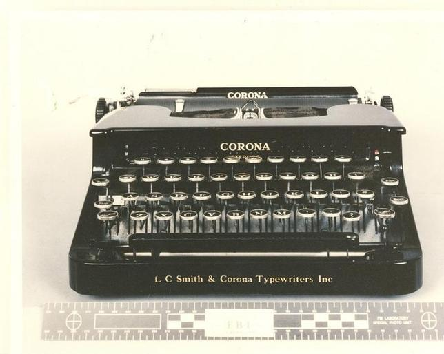 A manual typewriter, one of the lots being sold in an online auction of the personal effects of Ted Kaczynski, aka the ?Unabomber'', is seen in this photo released by the U.S. Marshals Service May 12, 2011. Kaczynski's personal journals sold for over $40,000 on Thursday in an online auction of his personal belongings, authorities said. The federal government held the auction of dozens of items, which began on May 18, to raise funds for Kaczynski's victims and their families. He became one of America's most notorious criminals when he was arrested in the killing of three people and wounding 29 with homemade bombs sent by mail from 1978 to 1995.  REUTERS/U.S. Marshals Service/Handout (UNITED STATES - Tags: CRIME LAW SOCIETY BUSINESS) FOR EDITORIAL USE ONLY. NOT FOR SALE FOR MARKETING OR ADVERTISING CAMPAIGNS. THIS IMAGE HAS BEEN SUPPLIED BY A THIRD PARTY. IT IS DISTRIBUTED, EXACTLY AS RECEIVED BY REUTERS, AS A SERVICE TO CLIENTS - RTR2N7XJ