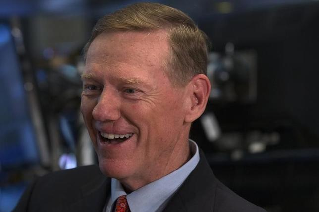 Alan Mulally speaks during an interview with CNBC on the floor of the New York Stock Exchange June 6, 2014.  REUTERS/Brendan McDermid
