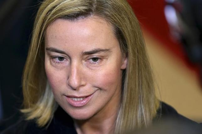 Italy's Foreign Minister Federica Mogherini talks to the media as she arrives at an European Union foreign ministers meeting in Brussels May 12, 2014. REUTERS/Francois Lenoir