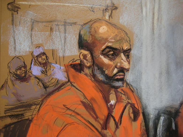 Babar Ahmad appears in U.S. District Court in New Haven, Connecticut, July 16, 2014, as seen in this courtroom sketch.  REUTERS/Jane Rosenberg
