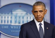 Presidente dos EUA, Barack Obama, em pronunciamento na Casa Branca. 16/07/2014        REUTERS/Larry Downing
