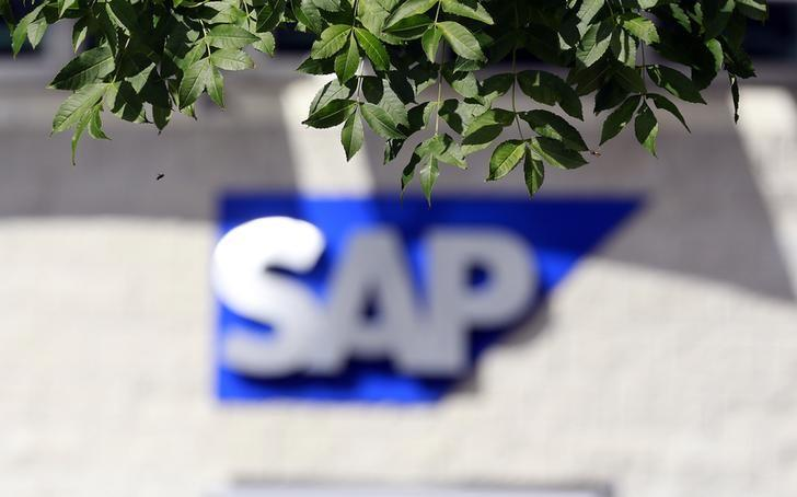 A SAP logo is seen at its offices in the CityWest complex, Dublin September 5, 2013. Picture taken September 5, 2013. To match Special Report TAX-SAP/   REUTERS/Cathal McNaughton (IRELAND - Tags: BUSINESS LOGO SCIENCE TECHNOLOGY)