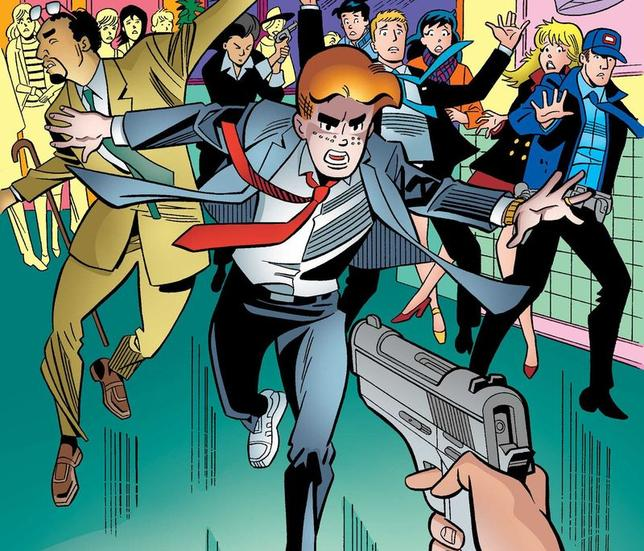An image from an issue of ''Life with Archie'' is pictured courtesy of Archie Comics Publications. Archie Andrews, the redheaded American teenager in the ''Archie'' comic book series, will die taking a bullet protecting his gay friend in the issue that comes out on July 16, 2014. REUTERS/Archie Comics Publications/Handout via Reuters