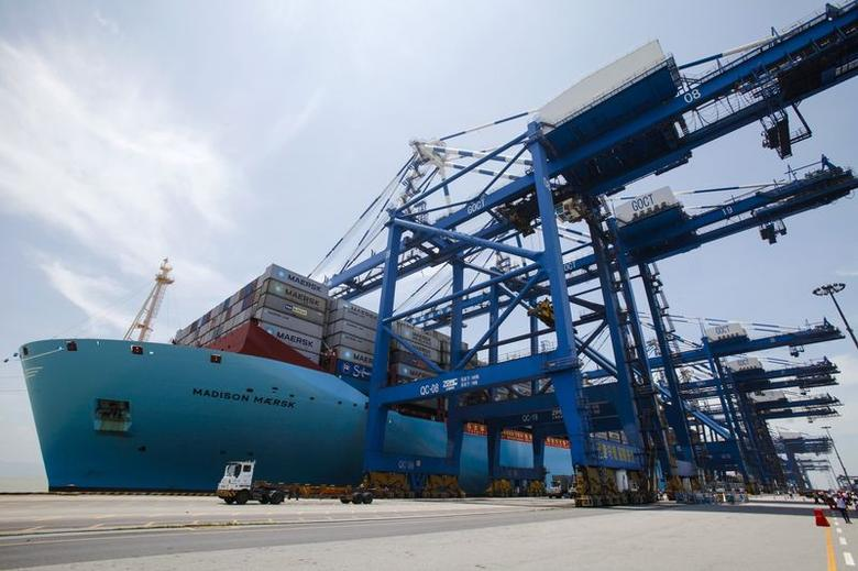 Triple-E class container ship ''Madison Maersk'' of Maersk Line loaded with containers is berthed at Nansha port in Guangzhou, Guangdong province June 26, 2014. REUTERS/Alex Lee