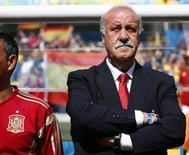 Técnico da seleção da Espanha, Vicente Del Bosque, durante partida da Copa do Mundo. 23/06/2014 REUTERS/Darren Staples