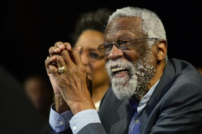 NBA legend Bill Russell smiles while he is being honored during the 2014 NBA All-Star Game Legends Brunch at Ernest N. Morial Convention Center. Feb 16, 2014; New Orleans, LA, USA; Bob Donnan-USA TODAY Sports