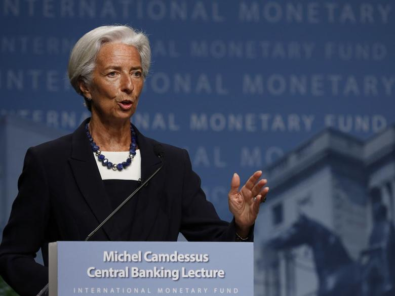 International Monetary Fund (IMF) Managing Director Christine Lagarde delivers opening remarks at the inaugural Michel Camdessus Central Banking Lecture in Washington July 2, 2014. REUTERS/Gary Cameron