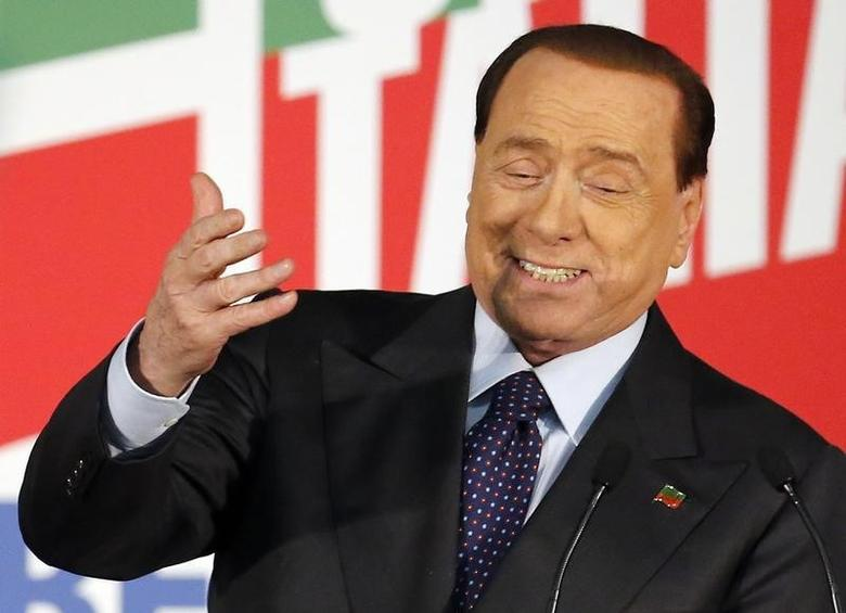 Forza Italia leader Silvio Berlusconi gestures as he speaks during a party rally in Milan May 23, 2014. REUTERS/Alessandro Garofalo
