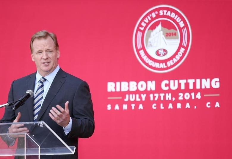 NFL commisioner Roger Goodell speaks during a press conference before the ribbon cutting ceremony at Levi's Stadium. Jul 17, 2014; Santa Clara, CA, USA;  Kelley L Cox-USA TODAY Sports