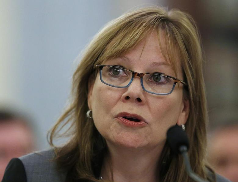 General Motors Chief Executive Mary Barra appears before the Senate Commerce, Science and Transportation Subcommittee in Washington July 17, 2014.  REUTERS/Gary Cameron