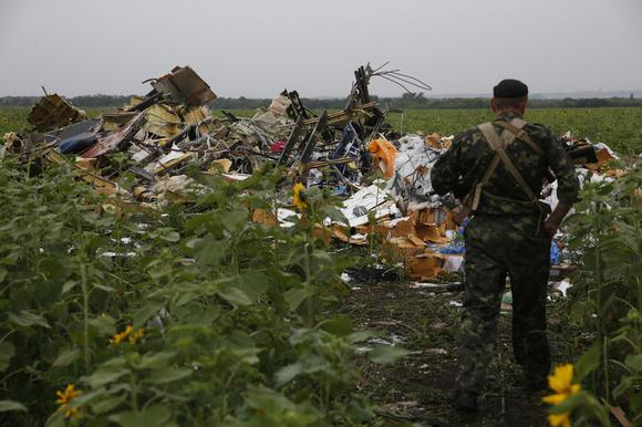 A pro-Russian separatist looks at wreckage from the nose section of a Malaysia Airlines Boeing 777 plane which was downed near the village of Rozsypne, in the Donetsk region July 18, 2014. REUTERS/Maxim Zmeyev