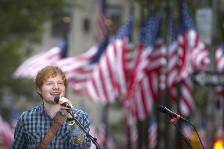 Singer Ed Sheeran performs on NBC's ''Today Show'' in the Manhattan borough of New York July 4, 2014.    REUTERS/Carlo Allegri