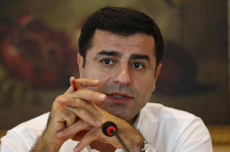 Selahattin Demirtas, co-chairman of the pro-Kurdish Peoples' Democracy Party (HDP) and presidential candidate, speaks to international media during a news conference in Istanbul, July 9, 2014. TURKEY-IRAQ/KURDS REUTERS/Murad Sezer