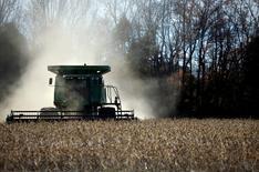 Imagen de archivo de un trabajador cosechando soja en Birmingham, EEUU, nov 13 2009. Los futuros del maíz en Estados Unidos cerraron en baja el lunes en la Bolsa de Chicago en medio de condiciones favorables para el desarrollo de la cosecha del cereal en Estados Unidos, acompañados por el trigo y la soja, que también terminaron con caídas.  REUTERS/Carlos Barria
