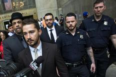 Actor Shia LaBeouf departs after a court appearance at Manhattan Criminal Court in New York July 24, 2014.  REUTERS/Lucas Jackson