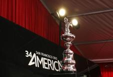 The America's Cup is shown prior to a news conference in San Francisco, California April 27, 2012.  REUTERS/Robert Galbraith