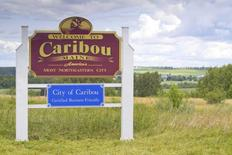 A sign welcoming visitors to Caribou, Maine is seen in this picture taken July 18, 2014. Citing amenities such as an airport and recreation center as evidence of excessive spending by the city government, a group of Caribou residents have started a movement to secede from the northeastern most U.S. City and undo a municipal merger which took place in the 19th century. REUTERS/Dave Sherwood