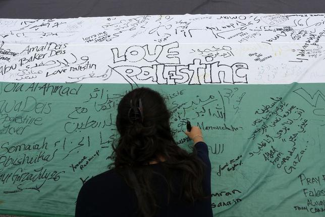 A pro-Palestinian protester signs a giant Palestinian flag during a demonstration against Israel's military action in the Gaza Strip, in Ottawa July 26, 2014. REUTERS/Chris Wattie