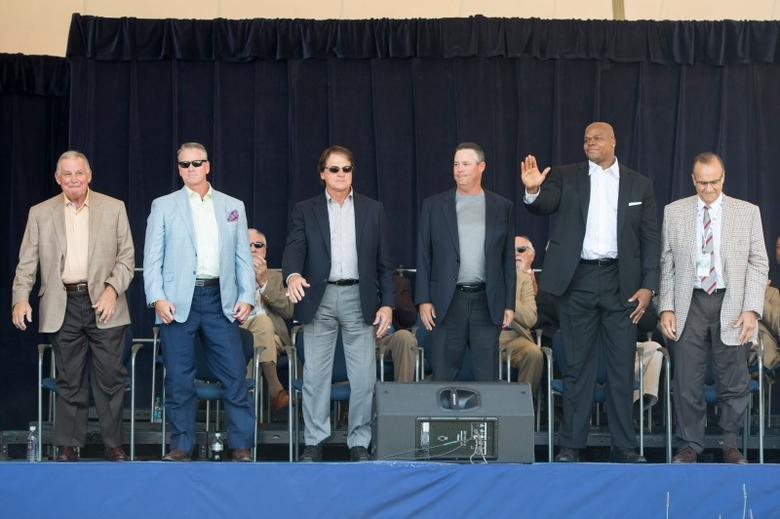 Jul 26, 2014; Cooperstown, NY, USA; (From left) Hall of Fame Inductee Bobby Cox, Hall of Fame Inductee Tom Glavine, Hall of Fame Inductee Tony La Russa, Hall of Fame Inductee Greg Maddux, Hall of Fame Inductee Frank Thomas and Hall of Fame Inductee Joe Torre at the Awards Presentation at the National Baseball Hall of Fame. Mandatory Credit: Gregory J. Fisher-USA TODAY Sports