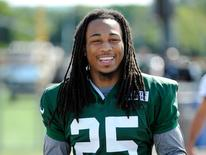Jul 24, 2014; Cortland, NY, USA; New York Jets free safety Calvin Pryor (25) walks out to the field prior to the start of training camp at SUNY Cortland. Mandatory Credit: Rich Barnes-USA TODAY Sports