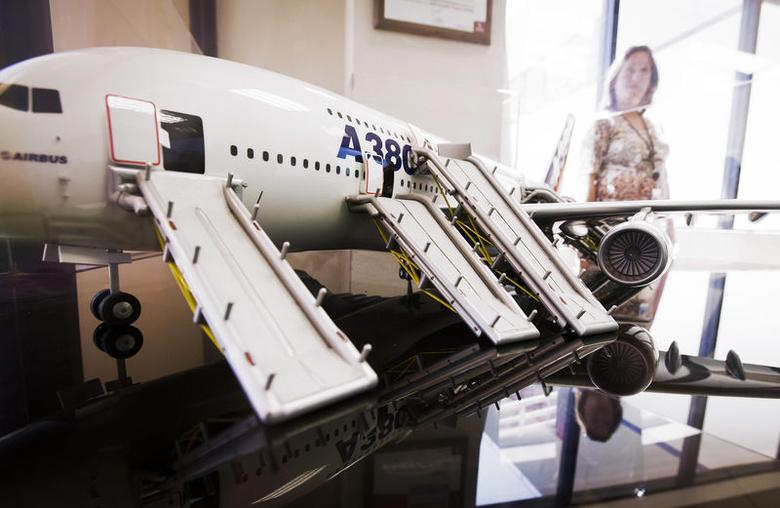 A model of an A380 Airbus with its evacuation slides deployed is displayed in the lobby at UTC Aerospace Systems in Phoenix, Arizona, July 11, 2014. REUTERS/Nancy Wiechec