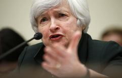 Chair do Fed, Janet Yellen, em comissão do Congresso dos EUA. 16/07/2014 REUTERS/Kevin Lamarque