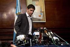 Argentina's Economy Minister Axel Kicillof arrives at a press conference at the Argentine Consulate in New York July 30, 2014. REUTERS/Carlo Allegri